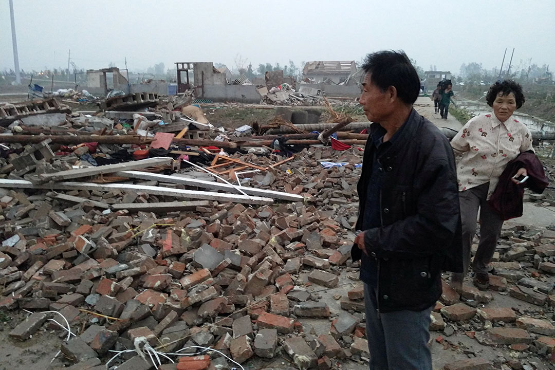 2016年6月23日,江蘇省鹽城市阜寧縣遭冰雹,龍捲風雙重災害襲擊。
