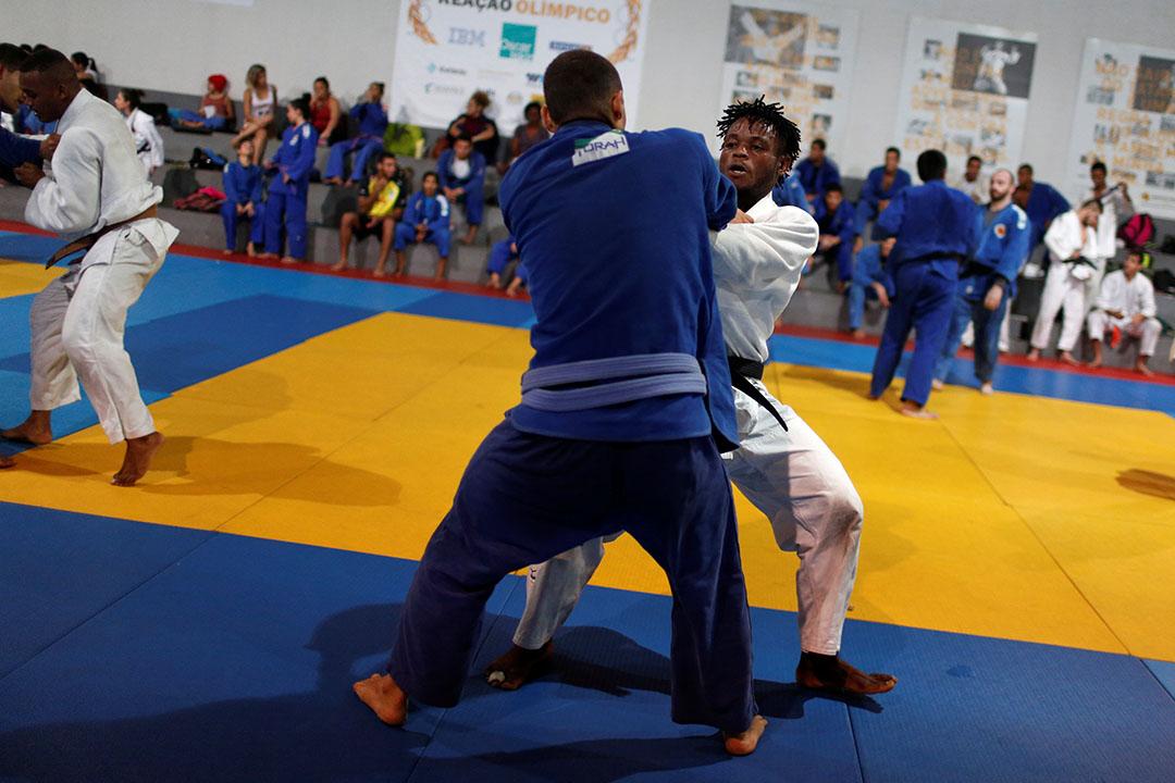 2016年6月1日,剛果難民兼柔道運動員Popole Misenga在巴西里約熱內盧訓練。