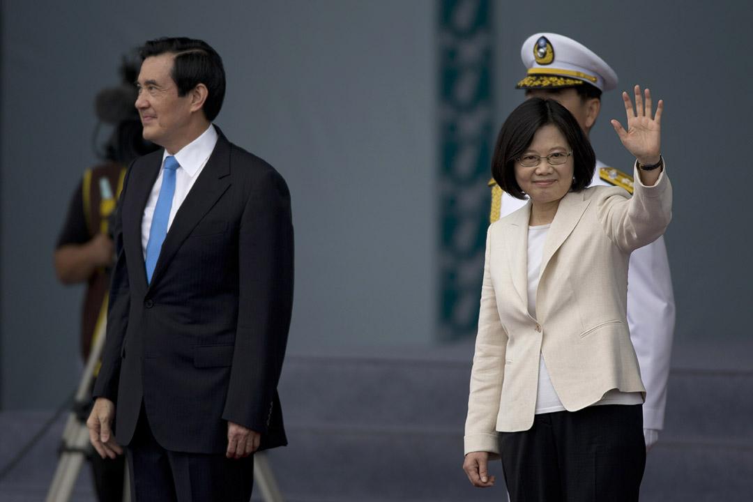 台灣第14任總統副總統就職典禮,前總統馬英九與總統蔡英文。