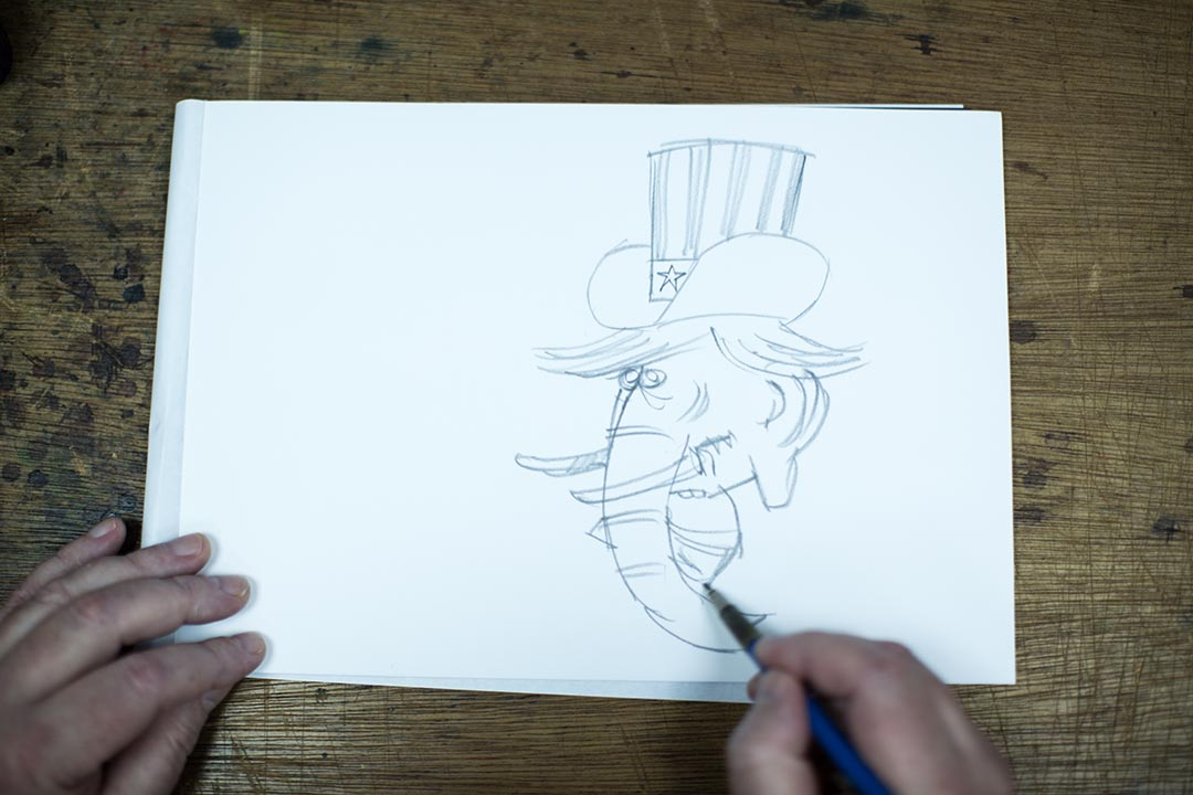 哈里•哈里森(Harry Harrison)繪畫今年美國總統選舉共和黨準候選人唐納德·約翰·川普(Donald John Trump)。