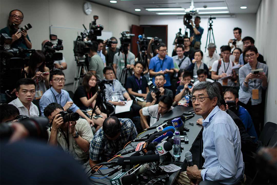 2016年6月16日,失蹤八個月的銅鑼灣書店店長林榮基舉行記者會。