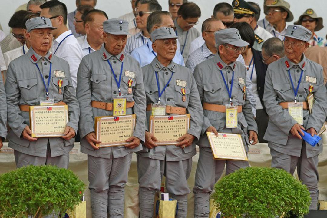 台灣榮民出席台灣紀念抗戰勝利70週年閱兵。