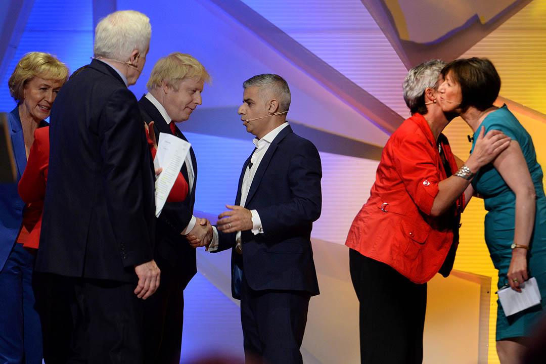 英國廣播公司(BBC)在倫敦溫布利體育館(Wembley Arena)舉辦脫歐對留歐電視直播辯論。