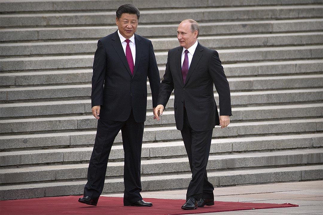 2016年6月25日,中國國家主席習近平和俄羅斯總統普京一同出席人民大會堂的歡迎儀式。