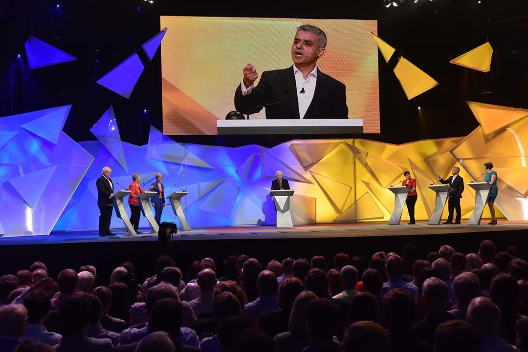 倫敦新市長薩迪克·汗(Sadiq Khan)出席英國廣播公司(BBC)在倫敦溫布利體育館(Wembley Arena)舉辦脫歐對留歐電視直播辯論。