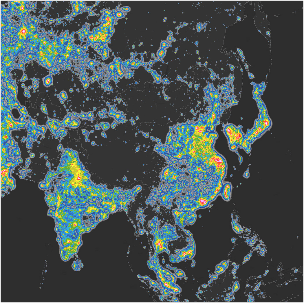 亞洲光害分布圖。