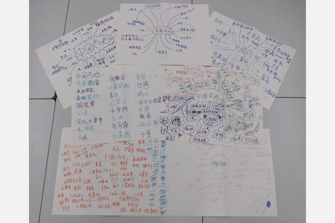 余健峰於中五通識教育科教授「現代中國」單元的時候,同學寫下對中國內地的認識或印象。