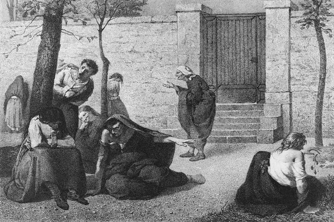 圖為19世紀法國畫家Armand Gautier一幅畫有幾個精神病患者的作品。