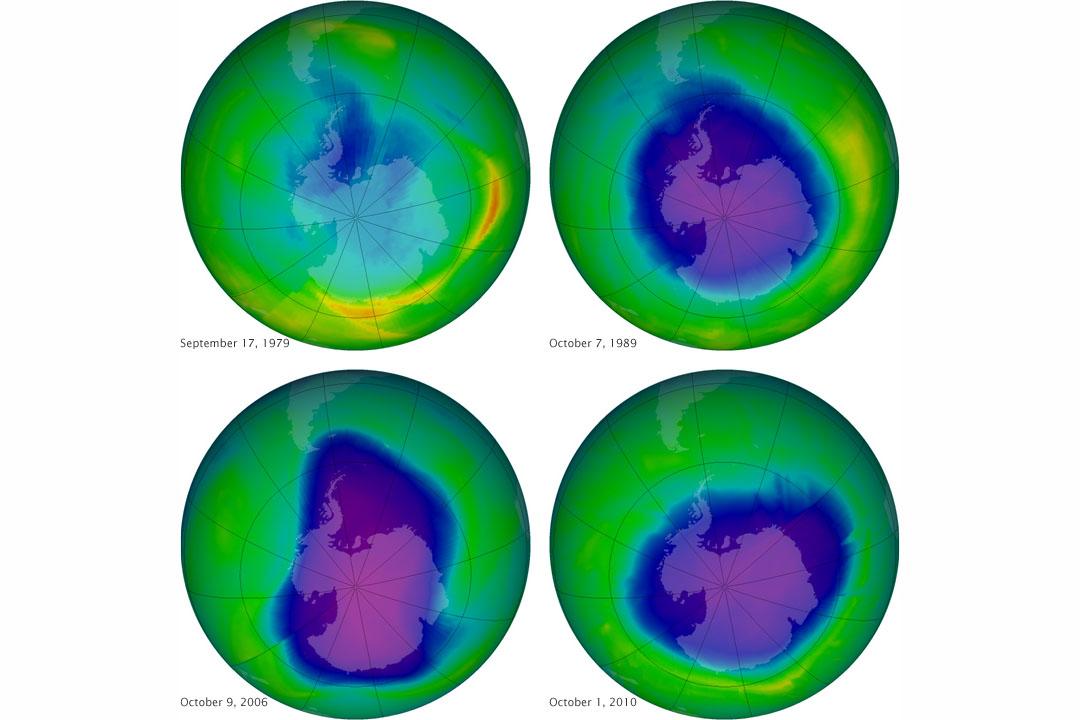1979年至2010年間南極臭氧層濃度變化。