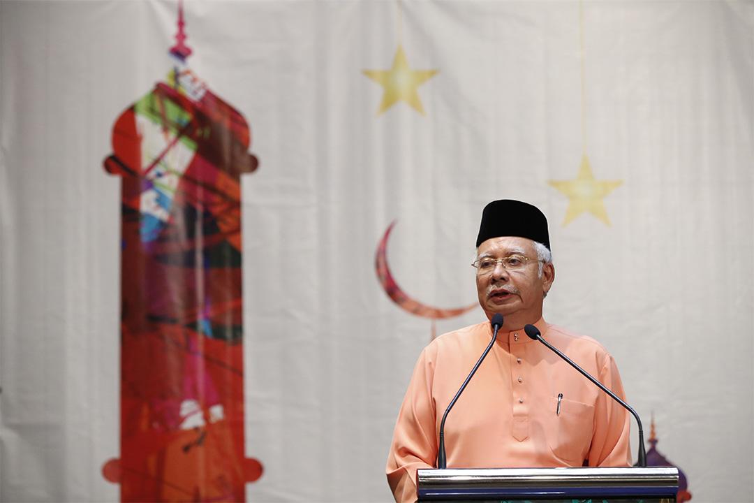 2016年7月21日,馬來西亞總理納吉在吉隆坡演說。
