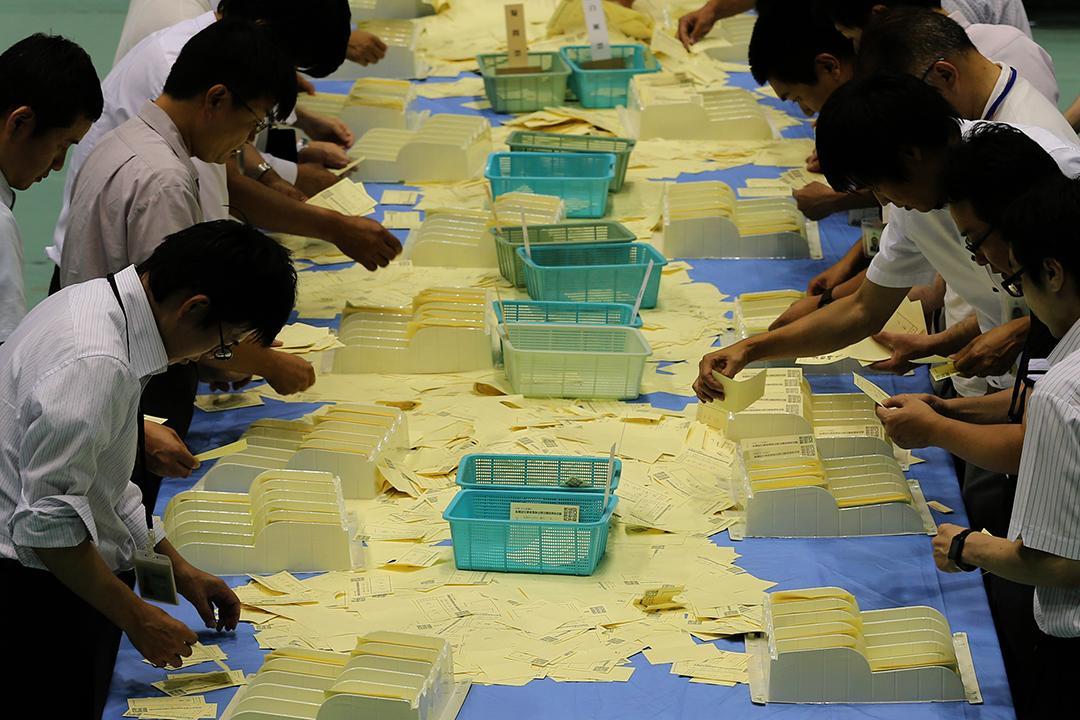 日本參議院第二十四次改選的點票。