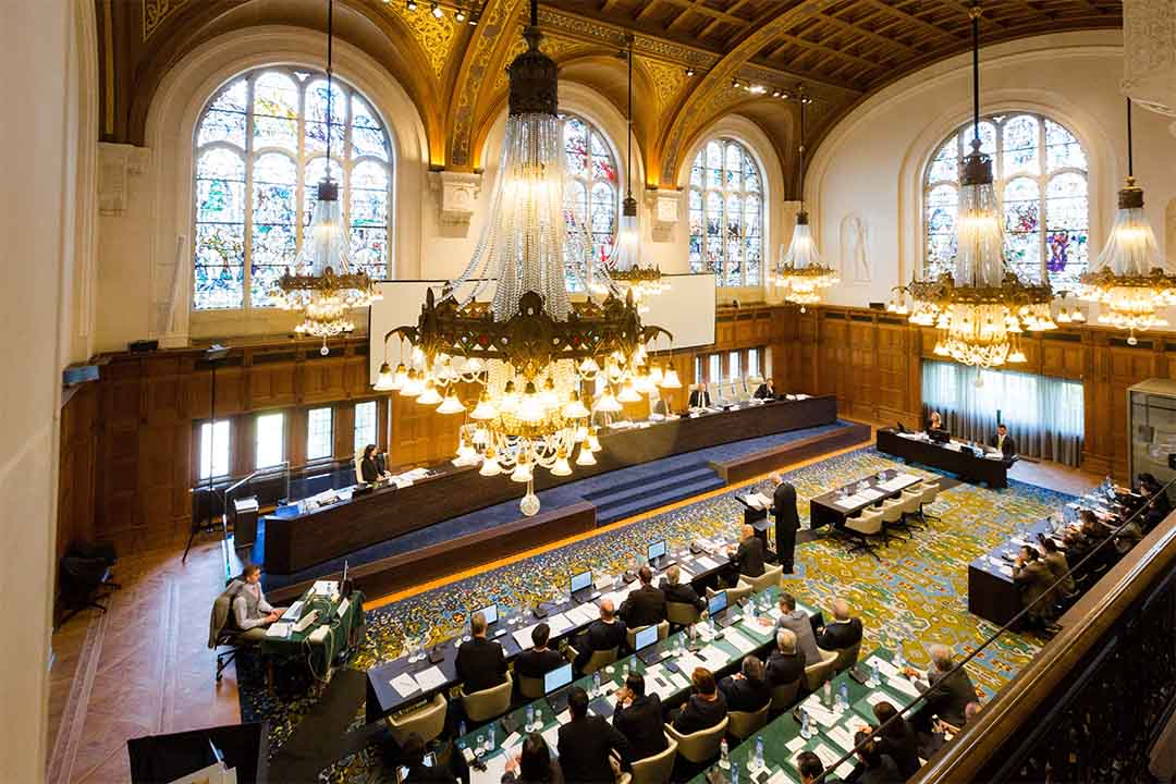 圖為2015年7月7日,荷蘭海牙仲裁法院就「南海仲裁案」聽審。