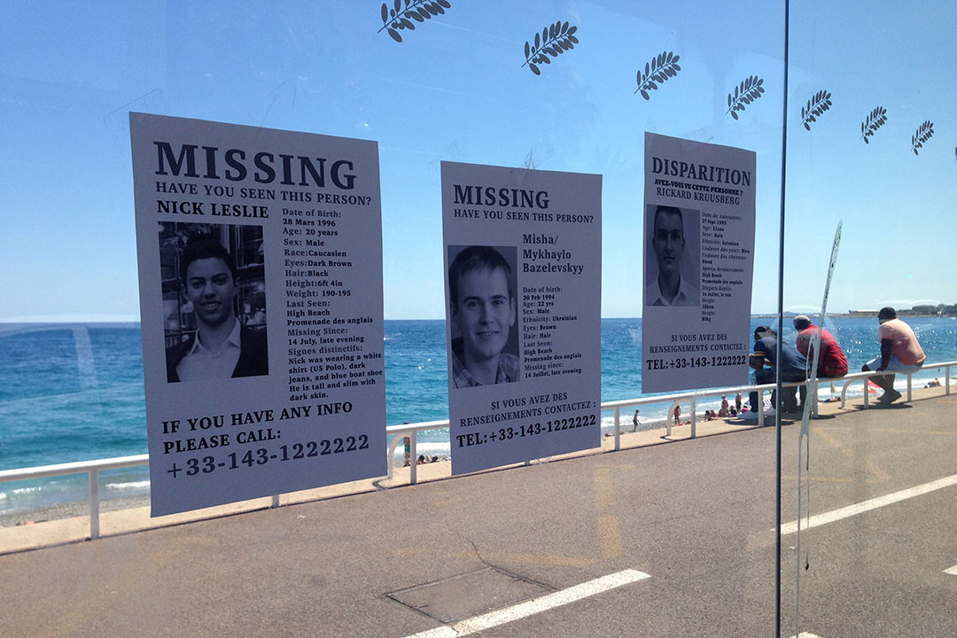 加州大學伯克利分校的學生貼的尋人啟事,同學在7月14日晚事故後失蹤。