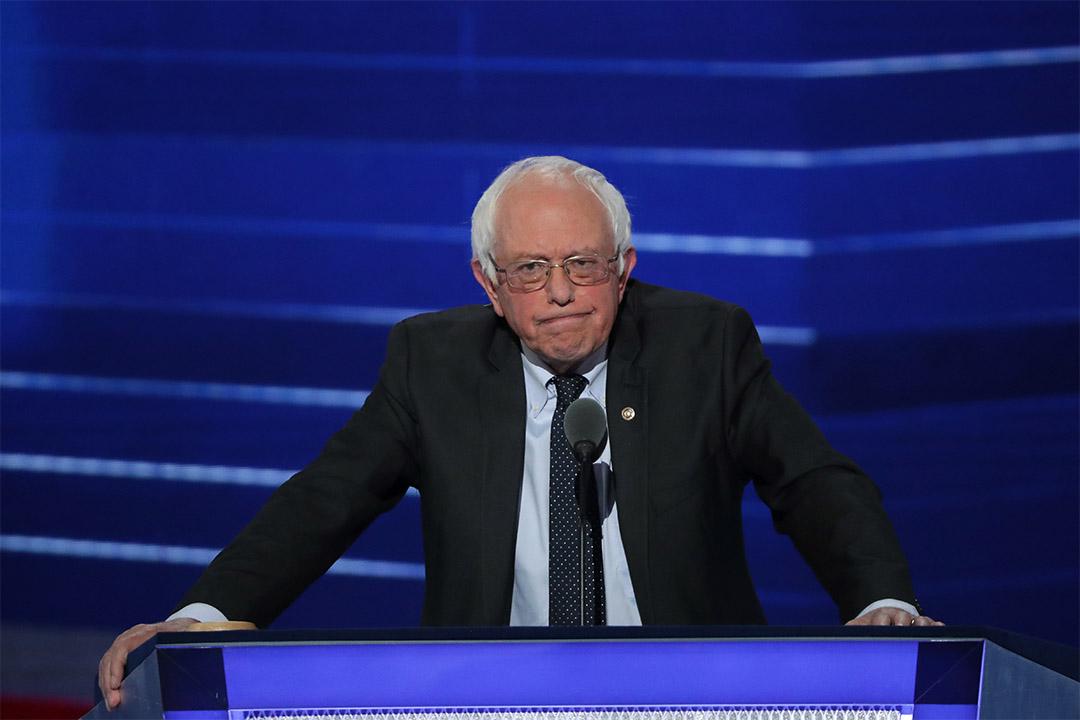 2016年7月25日,美國費城,桑德斯在民主黨全國代表大會上演說。