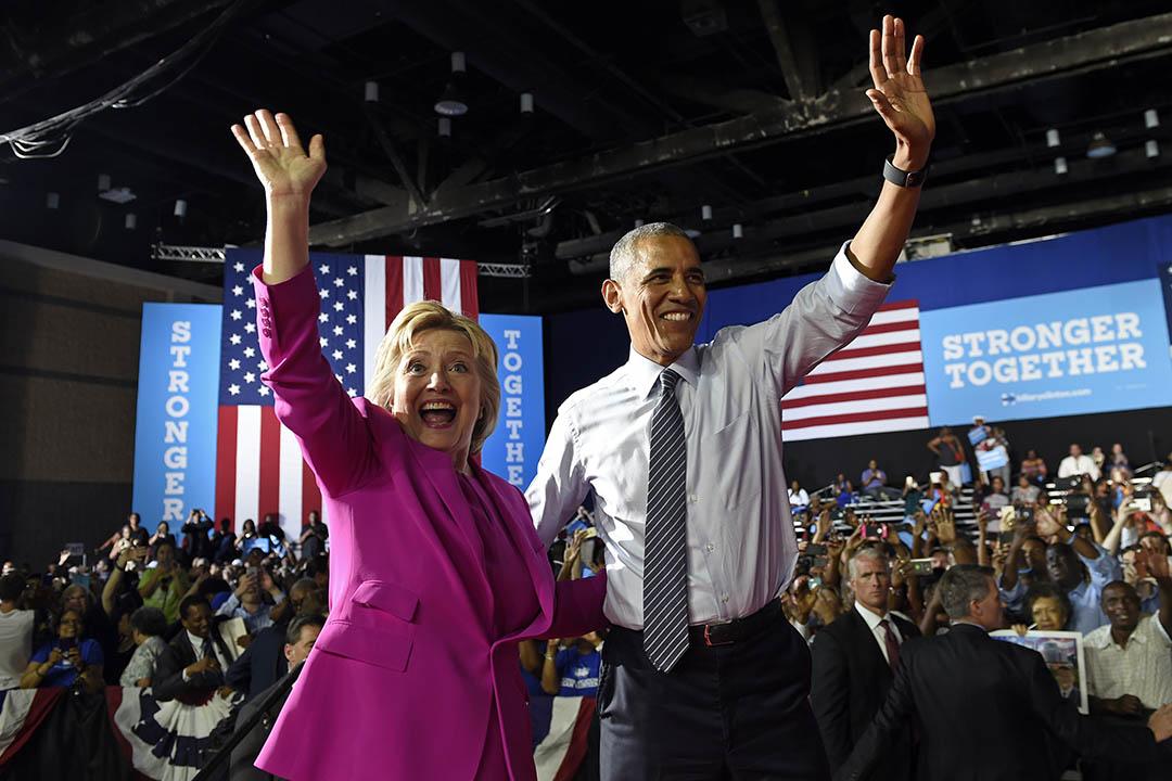 2016年7月5日,美國總統奧巴馬首次為民主黨總統候選人希拉莉站台拉票。