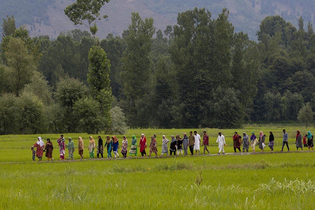 喀什米爾人步行前往參加最大反抗軍領袖Burhan Wani的葬禮。