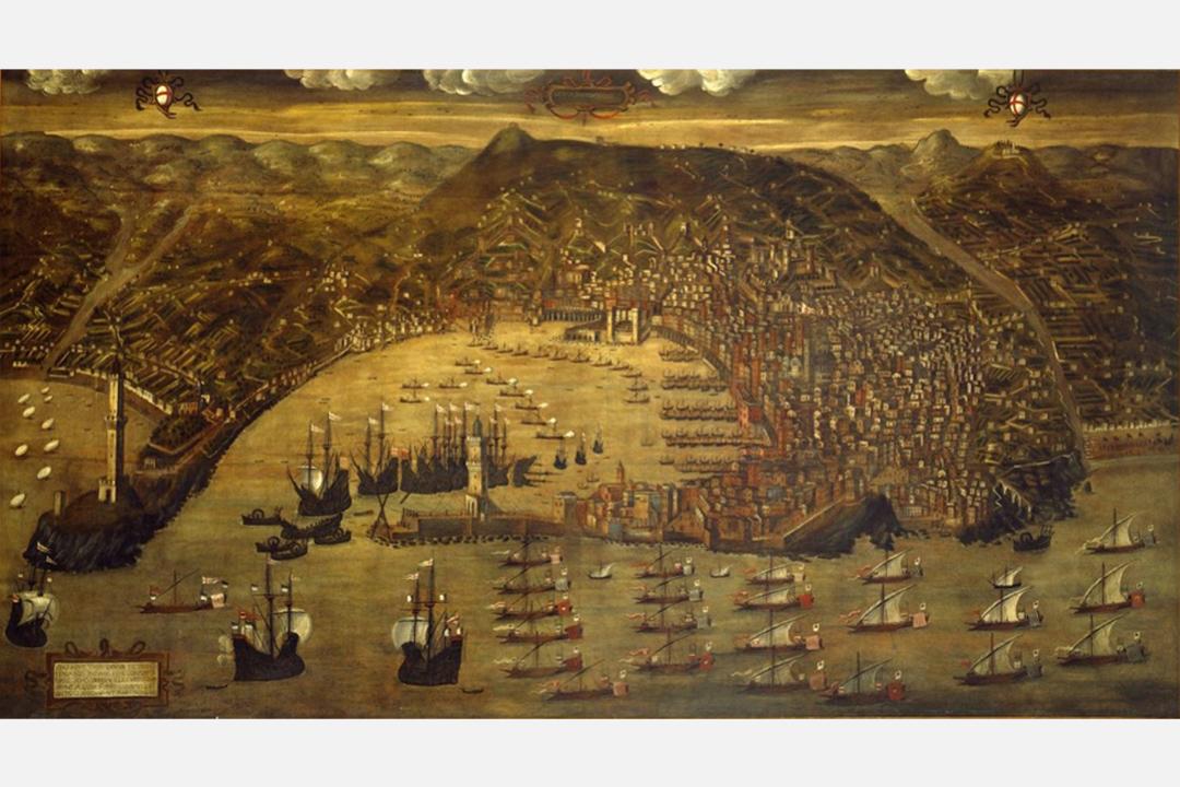 中古時期崛起為海上霸主的熱內亞共和國地圖(1597年由Cristoforo di Grassi繪製)。