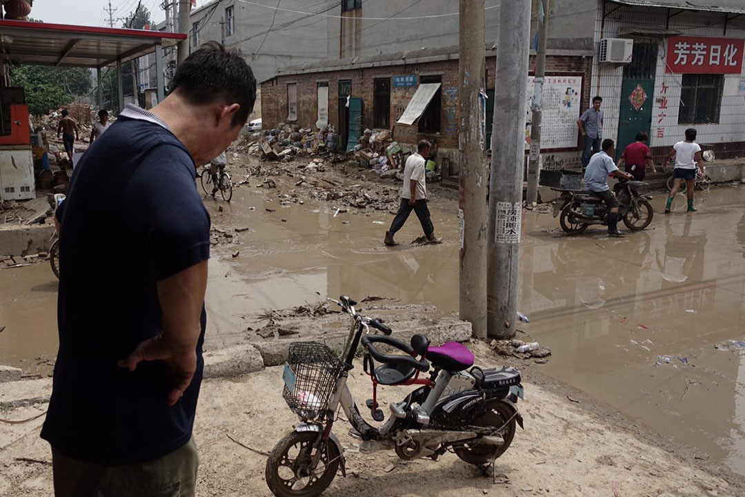 河北邢台大賢村洪災過後。