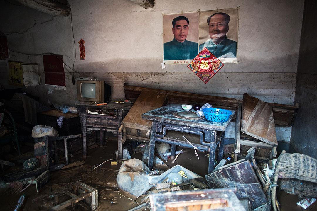邢台市大賢村一受災房屋內。