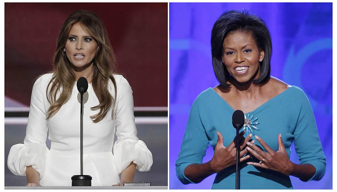 圖為特朗普妻子梅拉尼婭(Melania Trump)在2016年共和黨全國大會上發言及米歇爾·奧巴馬(Michelle Obama)2008年在民主黨全國代表大會上發言。