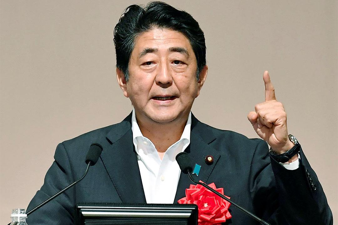 2016年7月27日,日本首相安倍晉三在福岡市發言。