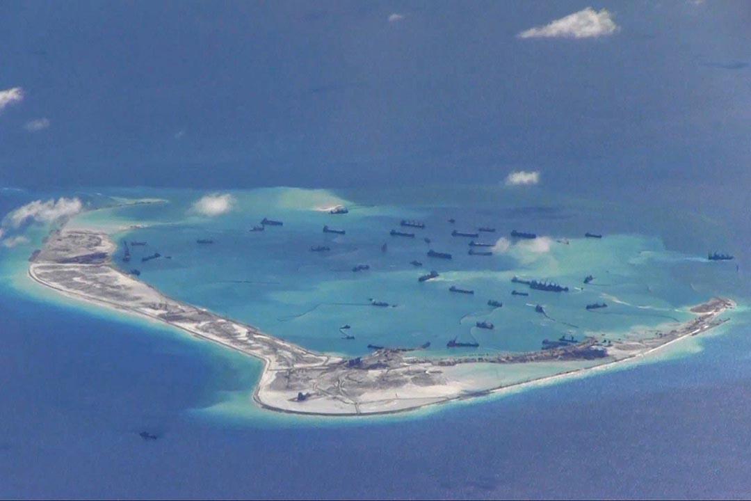 中國在南海的美濟礁。