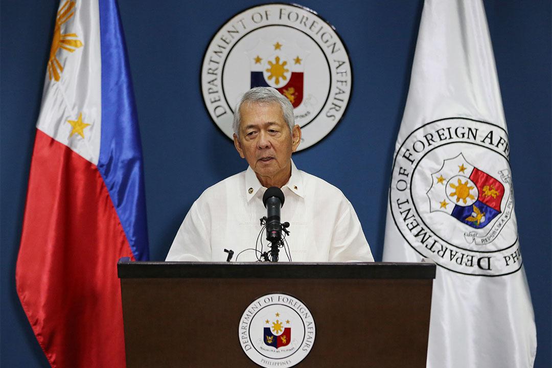 2016年7月12日,菲律賓外交部長雅賽在仲裁後發表講話。