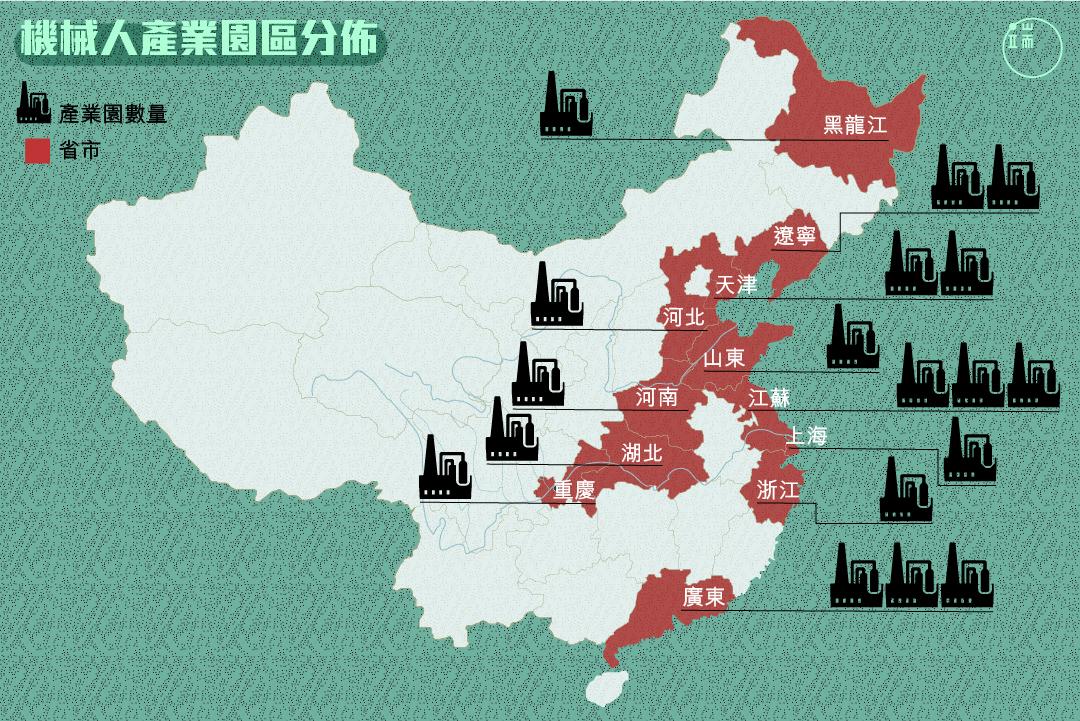 中國有哪些省市區已經積極投入到機械人產業中?