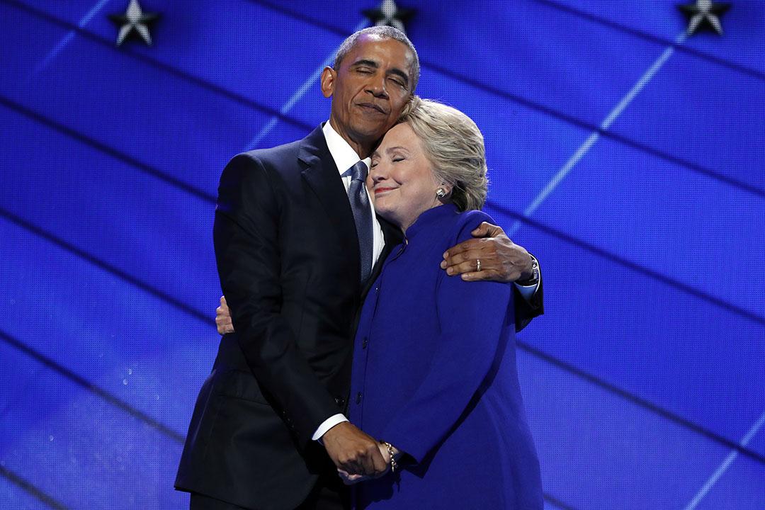 美國總統奧巴馬和民主黨總統候選人希拉里出席美國民主黨全國代表大會。