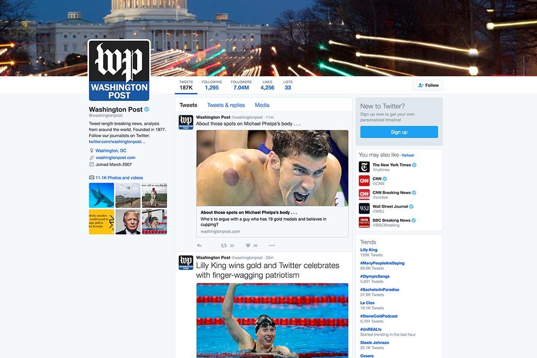 華盛頓郵報採用機器人報導奧運會。