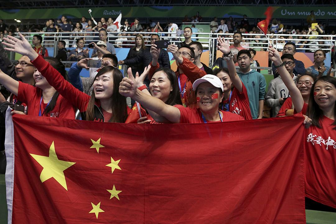 奧運會會場內中國隊的支持者。