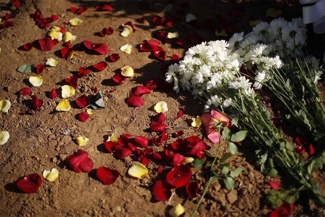 圖為洛杉磯一個公墓上人們所獻上的花。