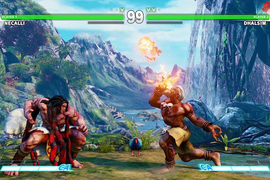 Capcom 株式會社經典遊戲《街霸》系列格鬥場面。