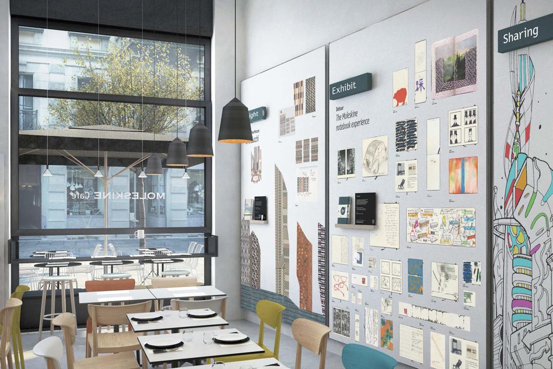 Moleskine Café內的展示牆。