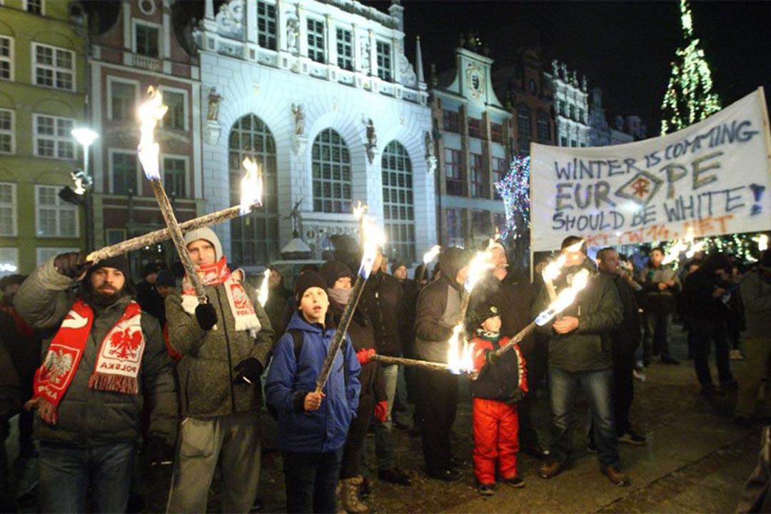 2016年1月23日,波蘭格但斯克,人們參與一個反對移民示威。