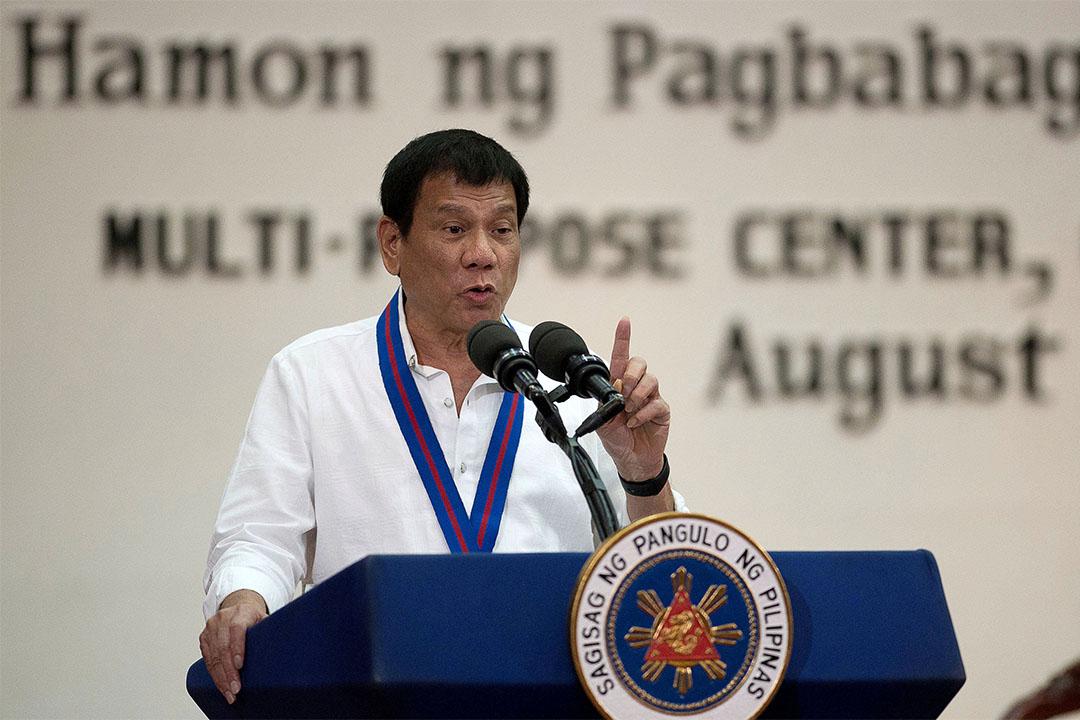 2016年8月17日,菲律賓馬尼拉,總統杜特地正在演說。