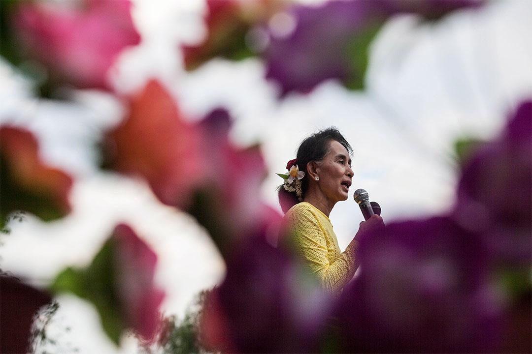 2015年10月24日,昂山素姬在緬甸舉辦競選活動。