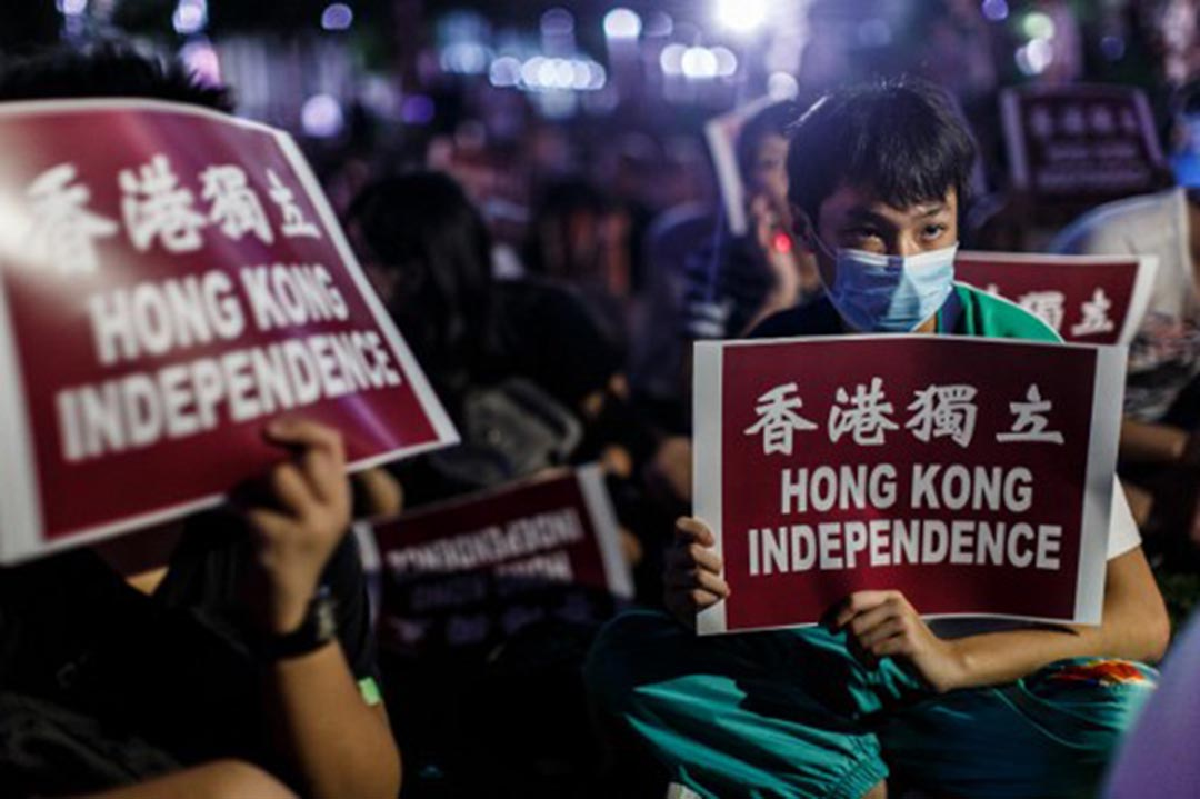 示威者出席香港獨立的集會。
