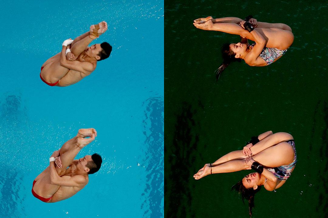 圖左-8月8日男子雙人10米跳台跳水決賽,圖右-8月9日女子雙人10米跳台跳水決賽。