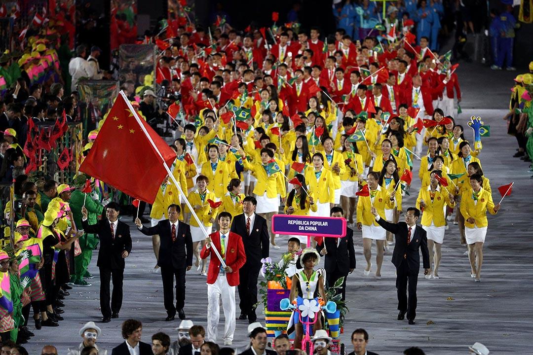 中國隊出席2016年里奧奧運會開幕儀式。