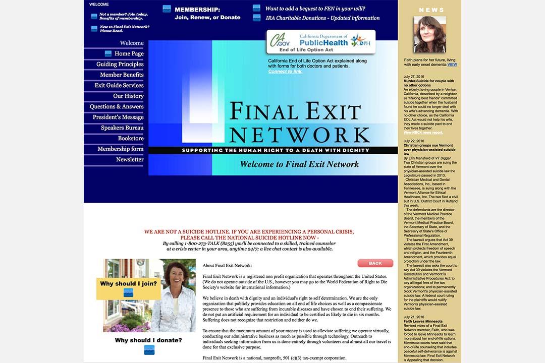 Final Exit Network的網頁。