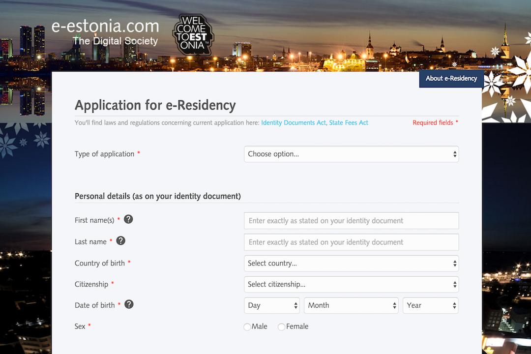 申請eresidency的網頁。