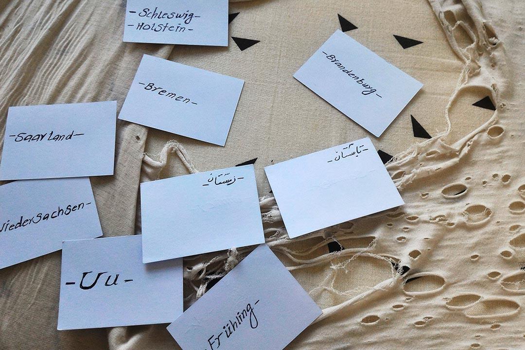 阿富汗難民穆罕默德·薩利姆自製的德文單詞學習卡。
