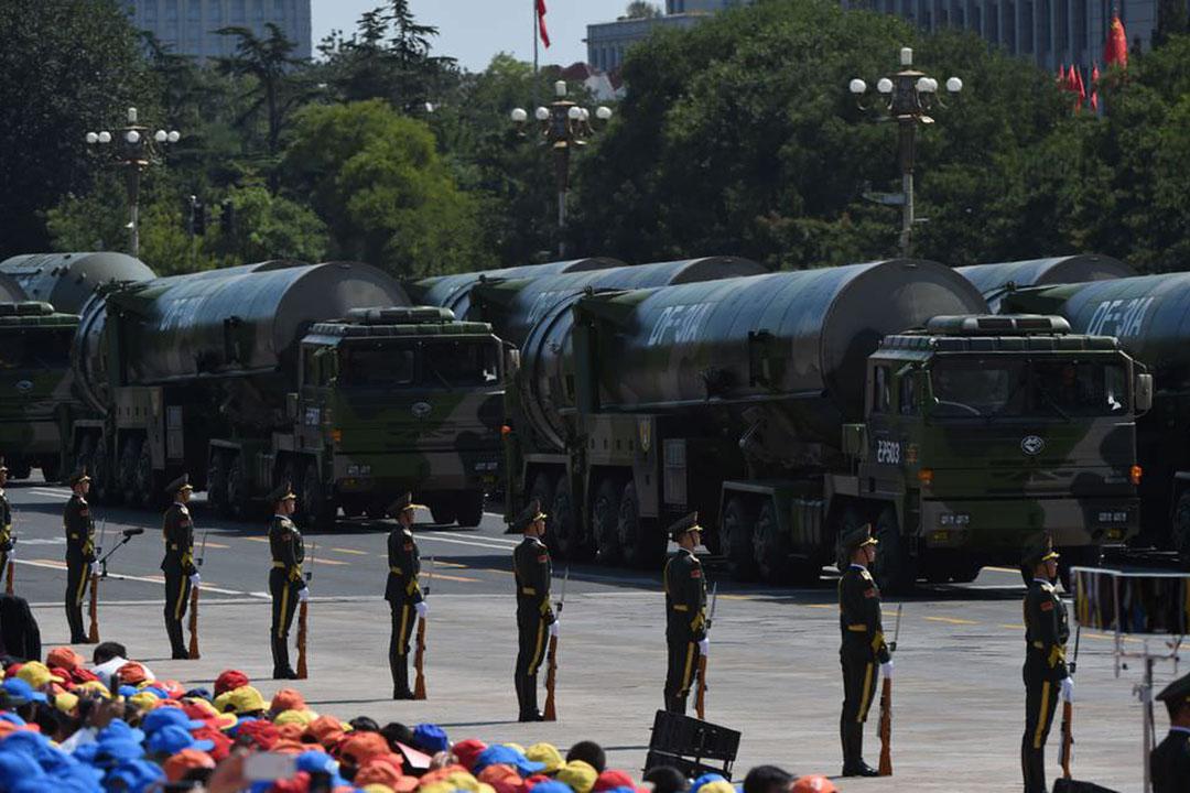 中國在東北部地區部署5個彈道導彈部隊,彈瞄凖關島、日本沖繩和朝鮮半島南端。圖為東風31A洲際導彈。