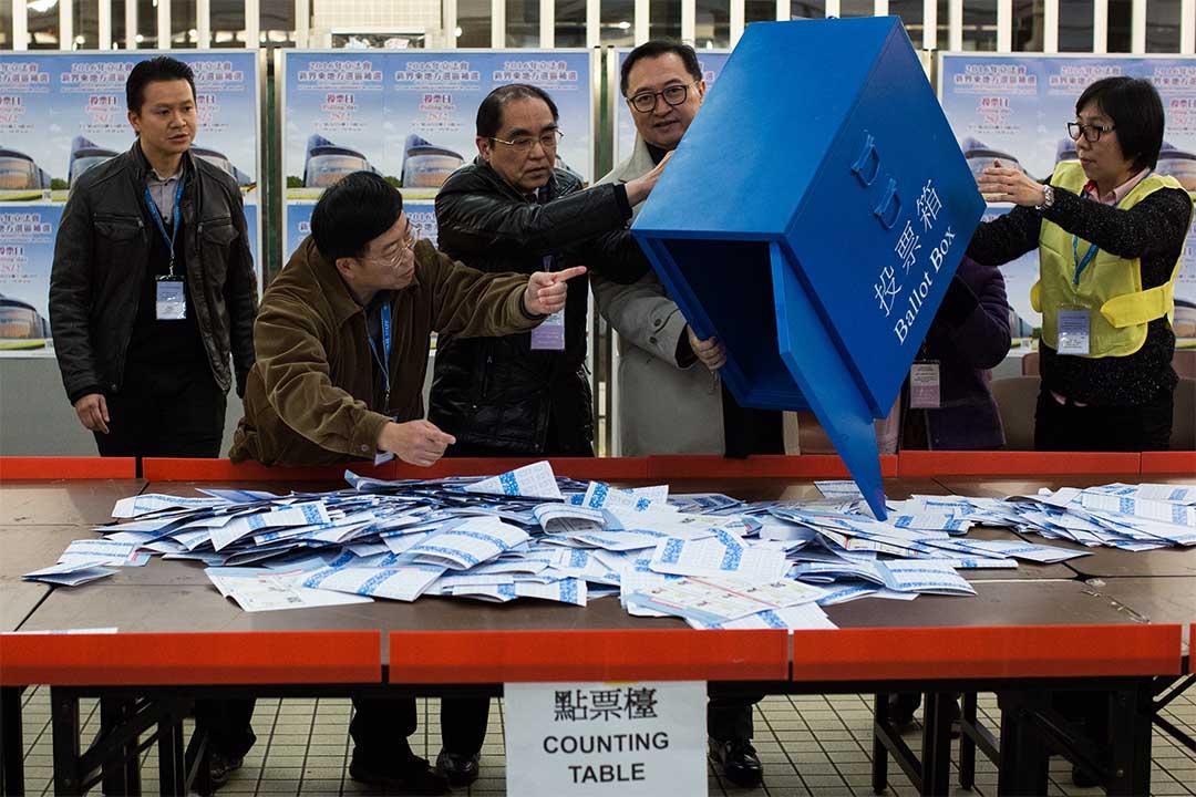 2016年2月28日,立法會新界東補選點票情況。