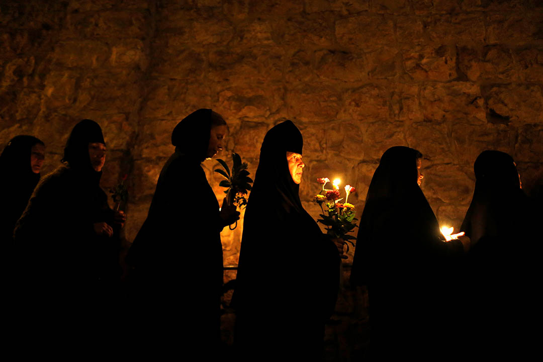 2016年8月25日,耶路撒冷老城,東正教修女沿苦難之路遊行。