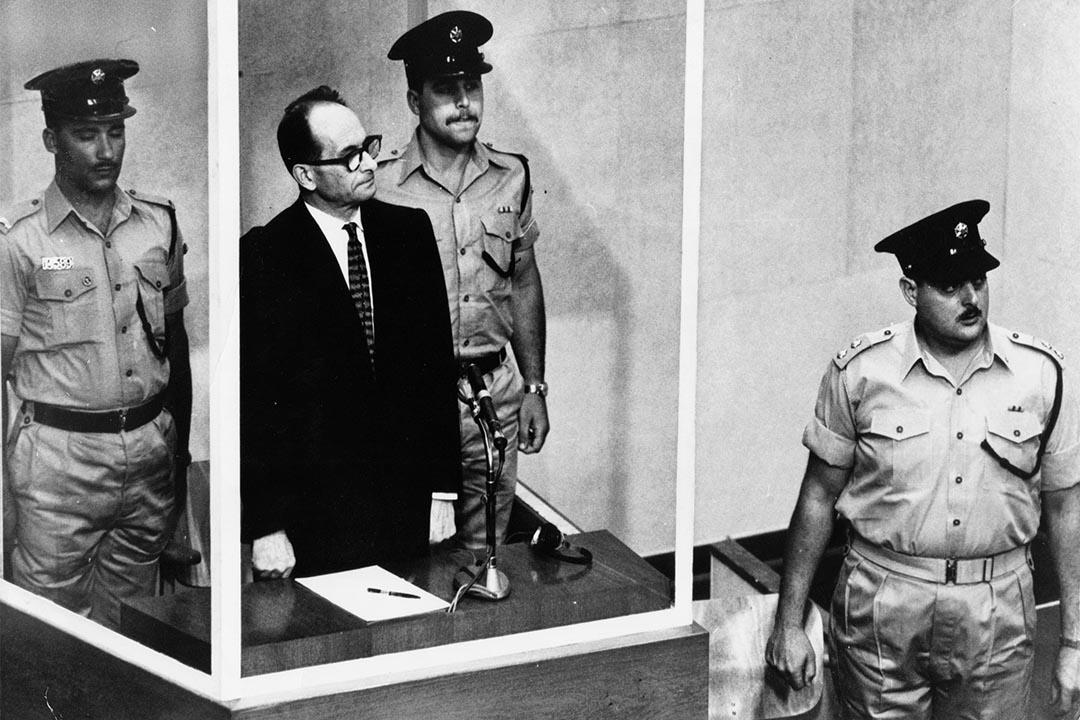 1961年,阿道夫‧艾希曼 (Adolf Eichmann) 在耶路撒冷受審。