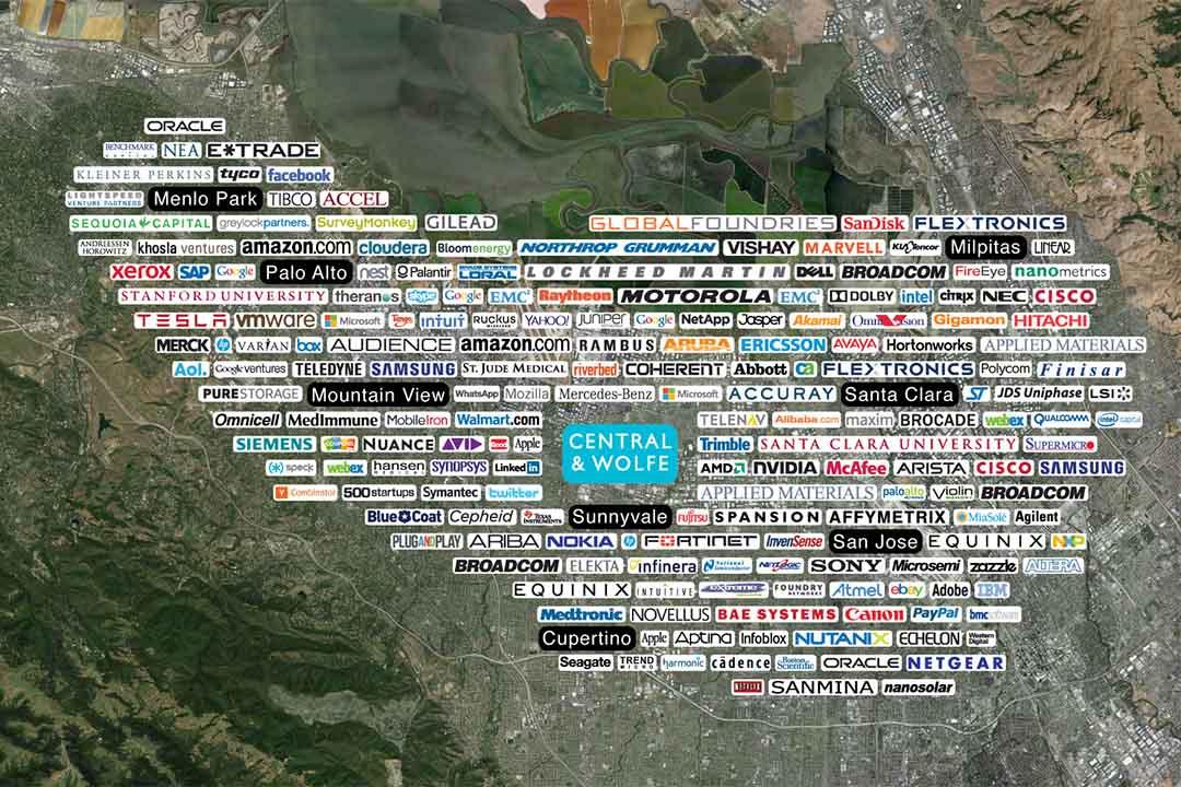 圖為硅谷地區的企業分布地圖。