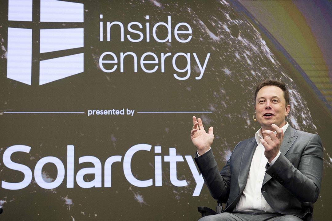 馬斯克宣佈將旗下特斯拉與solarcity合併。圖為馬斯克在2015年時以solarcity主席身份出席曼哈頓一個能源峰會。