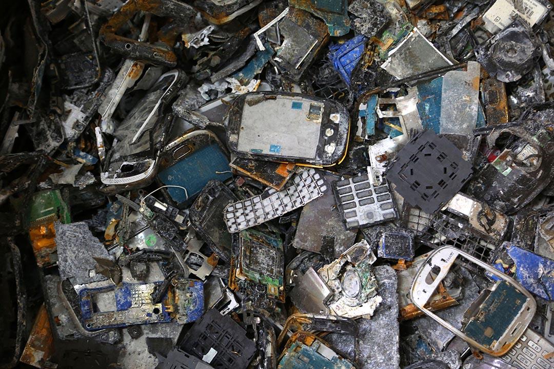 2016年4月22日,印度班加羅爾,一家回收公司收集的電子垃圾。